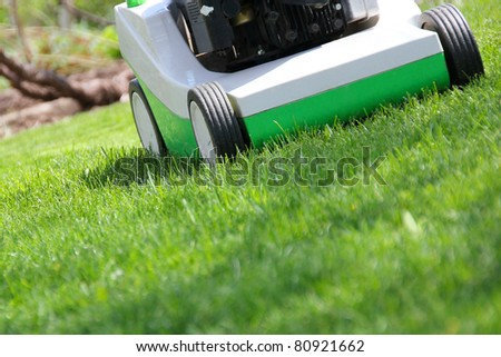 Mowing the lawn by green lawnmower
