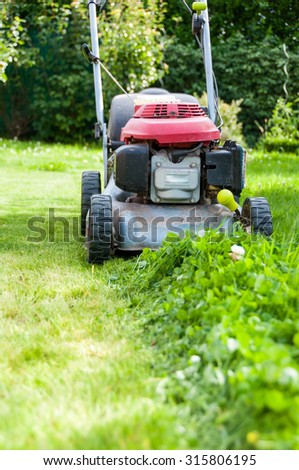mowing the lawn in my garden - stock photo