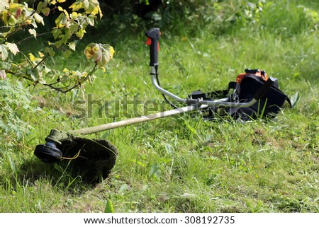 mows the grass trimmer - stock photo