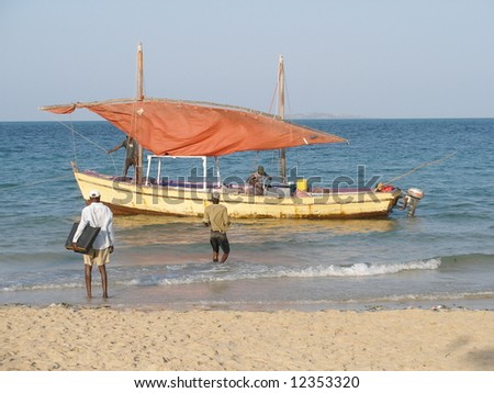 Mozambican dhow - stock photo