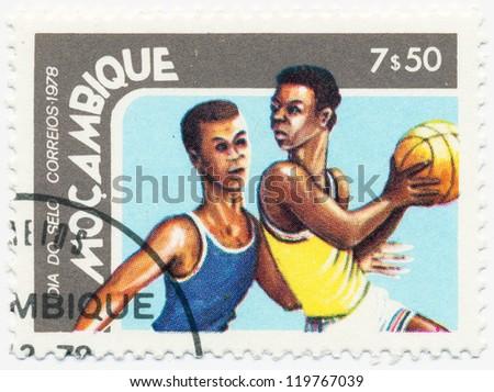 MOZAMBIQUE - CIRCA 1978: A stamp printed in Mozambique, shows Basketball, circa 1978 - stock photo
