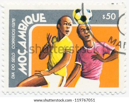MOZAMBIQUE - CIRCA 1978: A stamp printed in Mozambique, shows Football , circa 1978 - stock photo