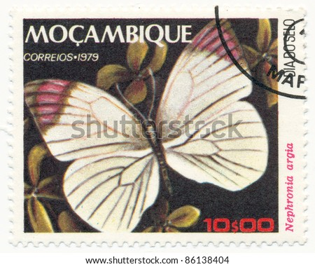 MOZAMBIQUE - CIRCA 1979: A stamp printed in Mozambique, shows Nephronia argia, series Butterflies, circa 1979 - stock photo