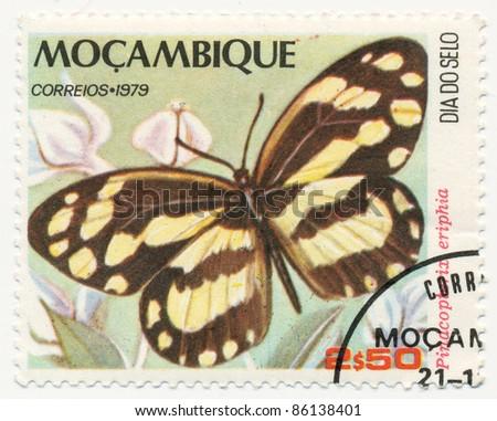 MOZAMBIQUE - CIRCA 1979: A stamp printed in Mozambique, shows Pinacopterix eriphia, series Butterflies, circa 1979 - stock photo