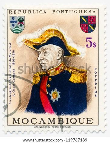 MOZAMBIQUE - CIRCA 1970: A stamp printed in Mozambique, shows portrait of  Antonio Oscar Fragoso Carmona, (1869-1951) 11th President of Portugal, circa 1970 - stock photo