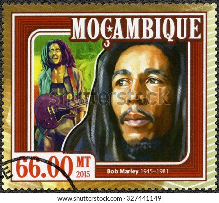 MOZAMBIQUE - CIRCA 2015: A stamp printed in Mozambique shows portrait of Robert Nesta Bob Marley (1945-1981), circa 2015 - stock photo
