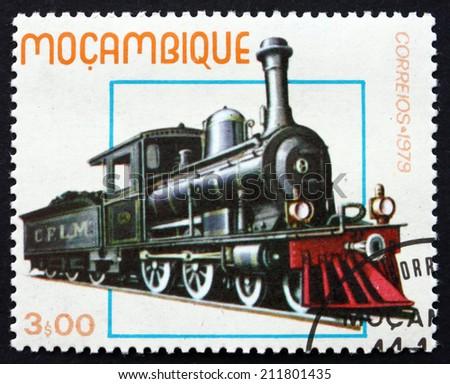 MOZAMBIQUE - CIRCA 1979: a stamp printed in the Mozambique shows Historic Locomotive, circa 1979 - stock photo