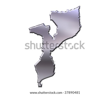 Mozambique 3d silver map