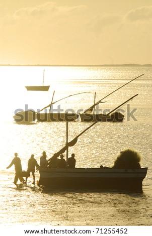Mozambique fishing at sunrise - stock photo