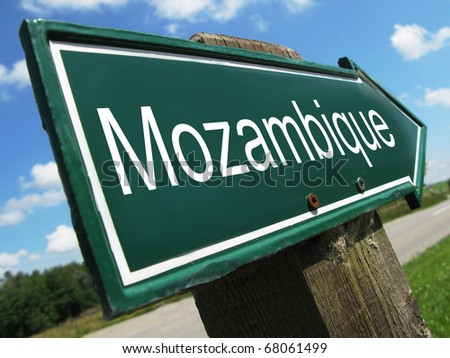 MOZAMBIQUE road sign - stock photo