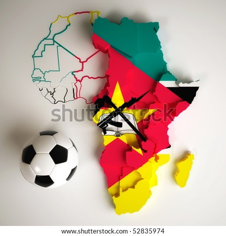 Mozambiquean flag on map of Africa with national borders