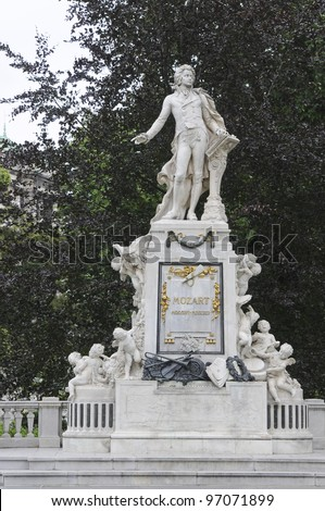 Mozart Monument in Maria Theresien square, Vienna, Austria - stock photo