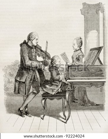 Mozart wonder child with his father and sister in 1763, old illustration. After Carmontelle, watercolour, published on Magasin Pittoresque, Paris, 1845 - stock photo