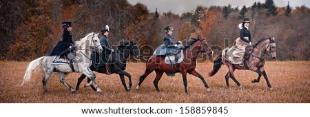 """MOZHAISK, MOSCOW- OCTOBER 5,  2013 : Historical reconstruction of famous Russian hounds hunting by horse club """"Avanpost"""". - stock photo"""