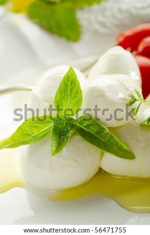 mozzarella and olive oil - stock photo