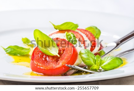 Mozzarella and tomatoes, caprese salad.Italian cuisine.Restaurant menu plate closeup. - stock photo