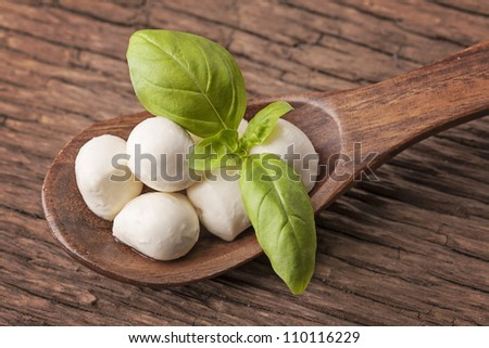 Mozzarella cheese and basil on a wooden spoon - stock photo