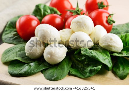 mozzarella cheese balls, ripe cherry tomatoes and greens on the cutting board. horizontal format - stock photo
