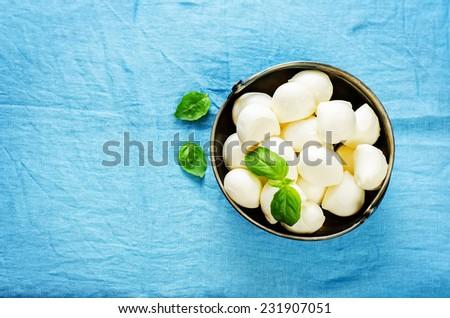mozzarella cheese on a blue background. tinting. selective focus on Basil - stock photo