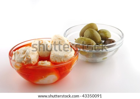 mozzarella cheese spiced served over white background