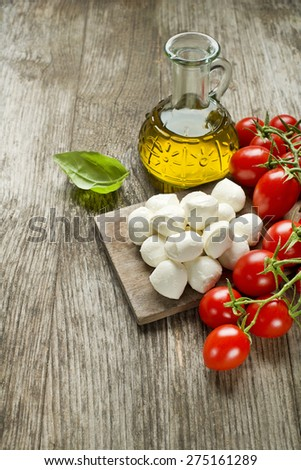 Mozzarella Cheese with Tomatoes and olive oil - stock photo