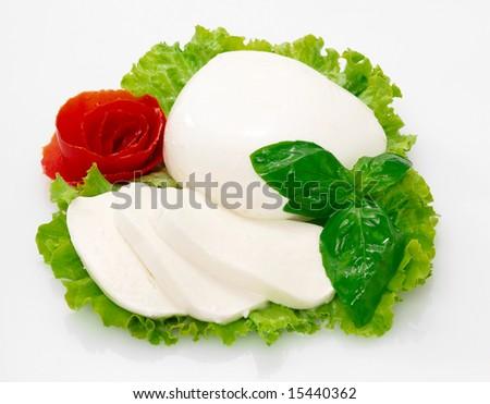 Mozzarella: italian cheese with salad - stock photo