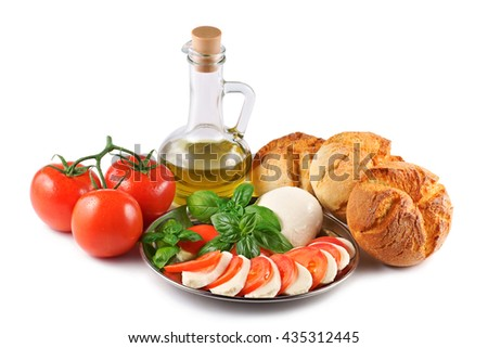 Mozzarella, tomatoes, olive, basil, roll, composition on a white background - stock photo