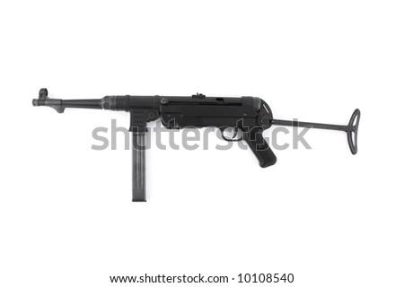 MP40 German submachine gun on white background - stock photo