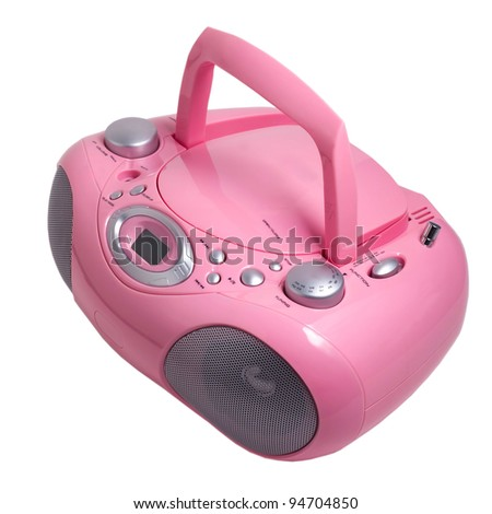 mp3 pink stereo cd radio cassette recorder isolated on a white background - stock photo
