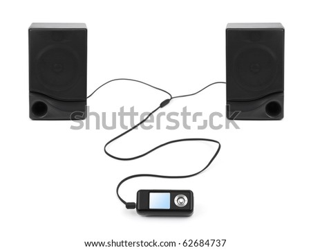 MP3 player and speakers isolated on white background - stock photo