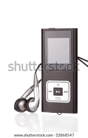 mp4 player isolated on a white background - stock photo