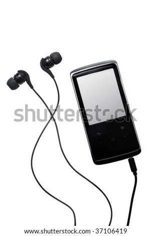 Mp3 player isolated on white - stock photo