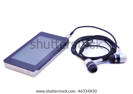 Mp3 player with earphones isolated on a white background
