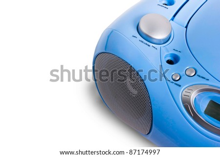 mp3 recorder blue on a white background - stock photo