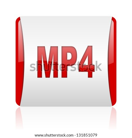mp4 red and white square web glossy icon