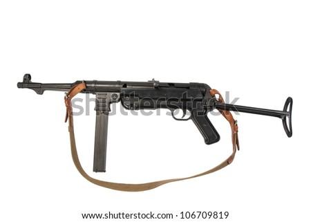 MP38/40 submachine gun on white background - stock photo
