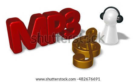 mp3 tag, clef symbol and pawn with headphones - 3d rendering