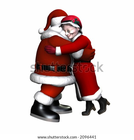 Mr and Mrs Claus Hugging. Isolated on a white background.