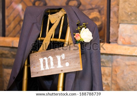 Mr and Mrs signs used for decor at a wedding reception. - stock photo
