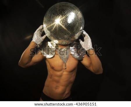 mr. discoball, disco party superhero - stock photo