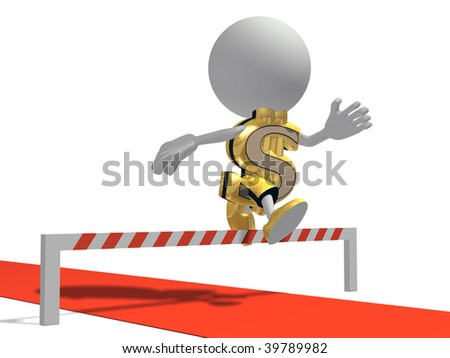 Mr dollar overcomes obstacles, isolated on a white background - stock photo