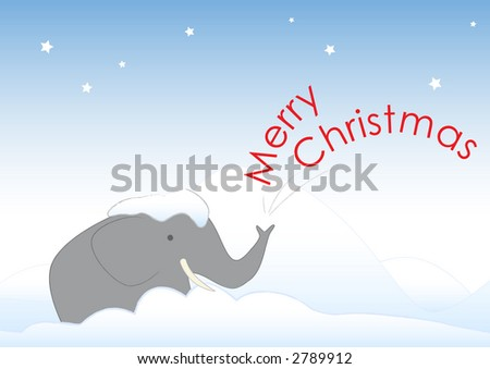 Mr. Elephant is stuck in the snow. He wishes you a Merry Christmas. He also wishes to be taken in from the cold and given a big drink of eggnog. - stock photo