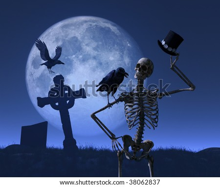 Mr skeleton is greeted by a friendly raven while taking a stroll on a moonlit night - 3D render.