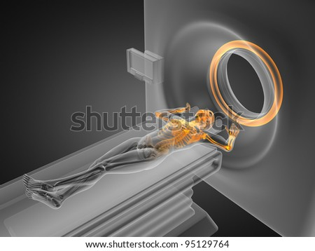 MRI examination made in 3D graphics - stock photo