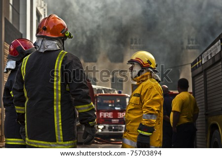 MRIEHEL, MALTA - APR 12 - Firefighters battle a fierce fire which engulfed Drop Chemicals Ltd factory which specializes in the production of domestic and industrial detergents, on April 12, 2011 in Mriehel, Malta