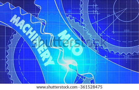 MRO Machinery on the Mechanism of Cogwheels. Blueprint Style. Technical Design. 3d illustration with Lens Flare. - stock photo