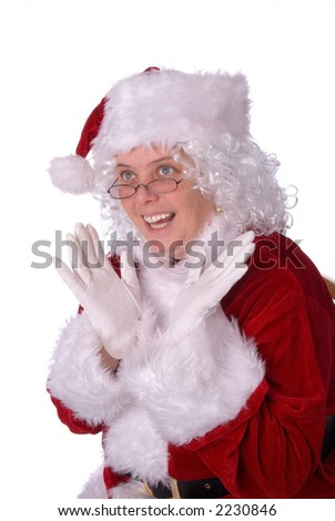 Mrs. Claus could not be happier - stock photo