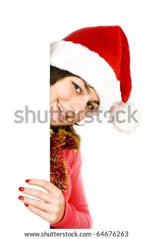 Mrs. Claus holding blank paper. - stock photo