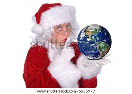 Mrs. Claus with Earth in her hand isolated over white - stock photo