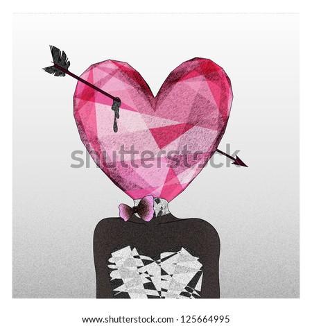 Mrs. Heart fall in love - stock photo